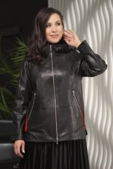 Женская кожаная куртка с капюшоном больших размеров. Фото 3.