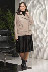 Женская кожаная куртка больших размеров-трансформер. Фото 1.