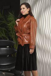 Двубортная кожаная куртка рыжего цвета. Фото 4.