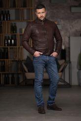 Мужская кожаная куртка из стираной кожи. Фото 2.