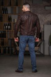 Мужская кожаная куртка из стираной кожи. Фото 3.
