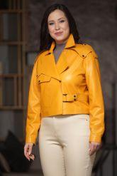 Эксклюзивная кожаная куртка яркого цвета. Фото 3.