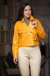 Эксклюзивная кожаная куртка яркого цвета. Фото 4.