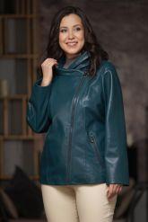 Женская кожаная куртка цвета морской волны. Фото 3.