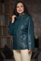 Женская кожаная куртка цвета морской волны. Фото 5.
