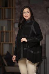 Комбинированная кожаная женская куртка свободного кроя. Фото 3.