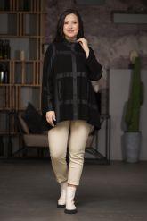 Комбинированная кожаная женская куртка свободного кроя. Фото 4.