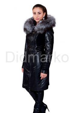 Комбинированное кожаное пальто с мехом чернобурки