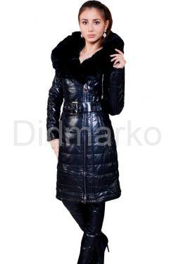 Стильное кожаное пальто с мехом рекс