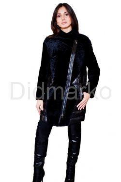 Кожаный пуховик, комбинированный с мехом астраган черного чвета