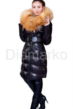 Оригинальный кожаный пуховик с мехом огненной лисы