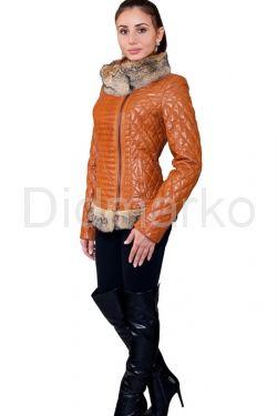 Стеганая куртка с отделкой из меха аргентинской лисы