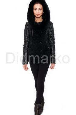 Зимняя кожаная куртка с мехом астрагана