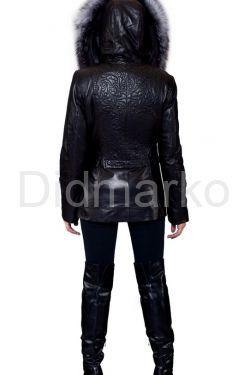 Декорированная кожаная куртка с мехом чернобурки