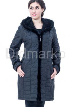 Классическое теплое пальто с отстегивающимся капюшоном из вязанной норки