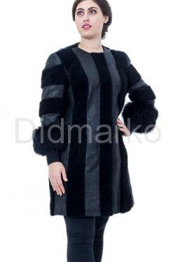 Комбинированная дубленка черного цвета в стиле Шанель