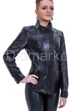 Куртка кожаная с отделкой косички