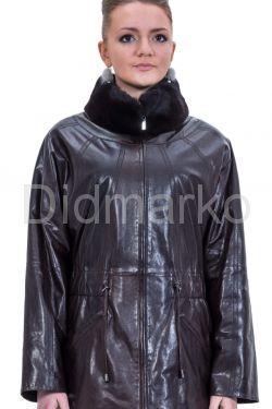 Женская кожаная куртка шоколадного цвета