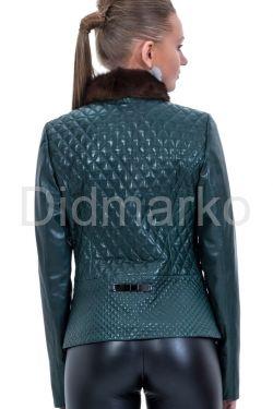 Кожаный пиджак с мехом норки