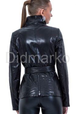 Стильная кожаная куртка черного цвета