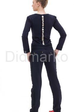 Стильный спортивный костюм со стразами темно-синего цвета
