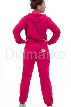 Спортивный костюм кораллового цвета с капюшоном