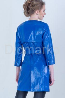Синий кожаный плащ