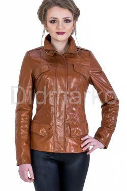 Кожаная куртка на молнии рыжего цвета