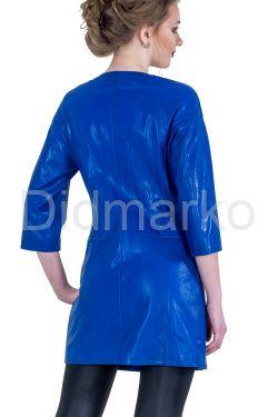 Кожаный тренч синего цвета