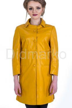 Кожаный плащ желтого цвета