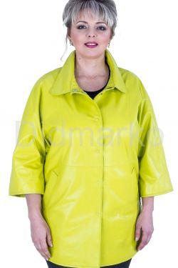 Кожаная куртка лимонного цвета