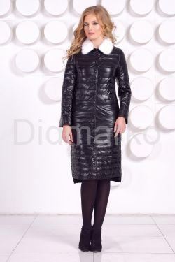 Длинное кожаное пальто