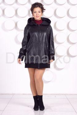 Кожаная куртка с капюшоном большого размера