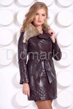 Кожаное пальто коричневого цвета
