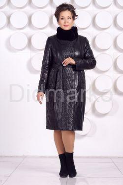 Длинное кожаное пальто с рисунком