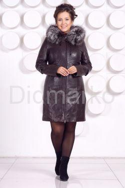 Кожаное пальто с подстежкой шоколадного цвета