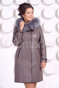 Классическое кожаное пальто с мехом чернобурки