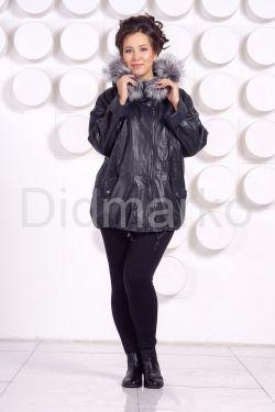 Кожаная куртка с мехом больших размеров WOMAN