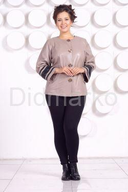 Кожаная куртка больших размеров жемчужного цвета