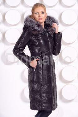 Длинный кожаный пуховик черного цвета