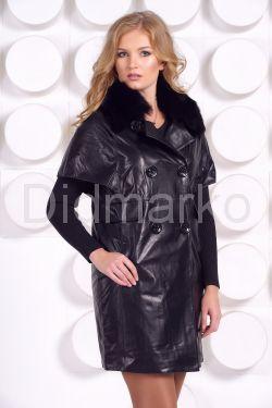 Кожаное пальто с воротником из песца