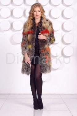 Меховая шубка из вязаной лисы