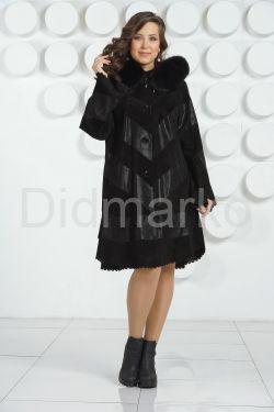 Комбинированное трапециевидное кожаное пальто