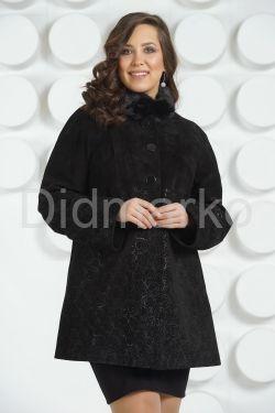 Удлиненная женская куртка из натуральной замши больших размеров