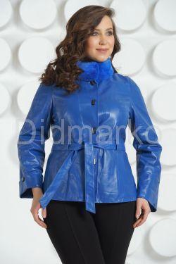 Красивая кожаная куртка цвета индиго