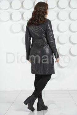Классический кожаный плащ черного цвета