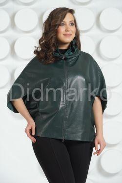 Темно-зеленая кожаная куртка для женщин