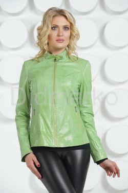 Кожаная куртка салатового цвета на молнии