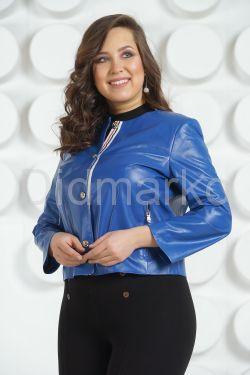Модная кожаная куртка цвета индиго