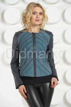 Комбинированная стильная кожаная куртка